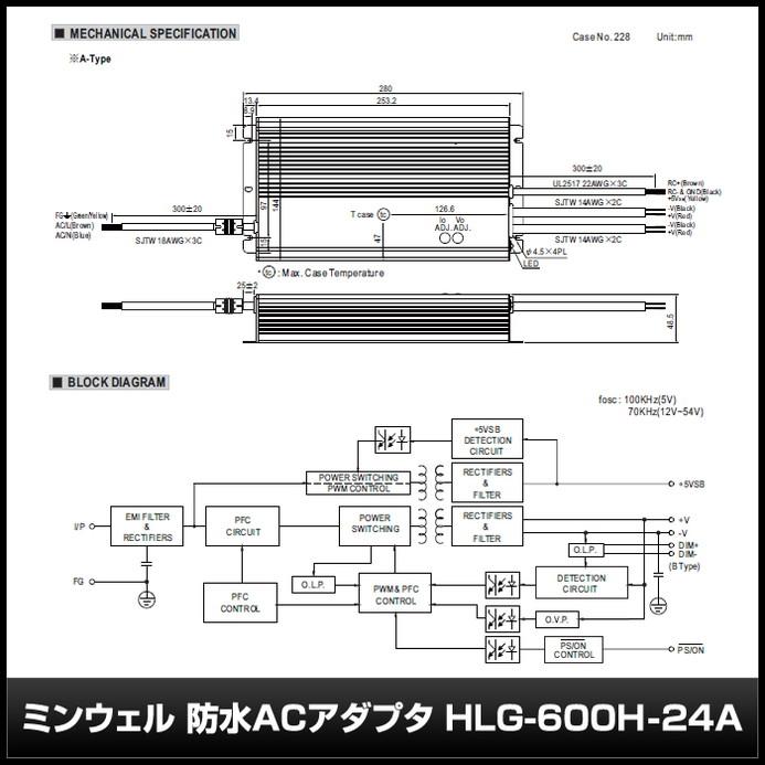 [1個] 24V/25A/600W ミンウェル 防水ACアダプター【HLG-600H-24A】IP65