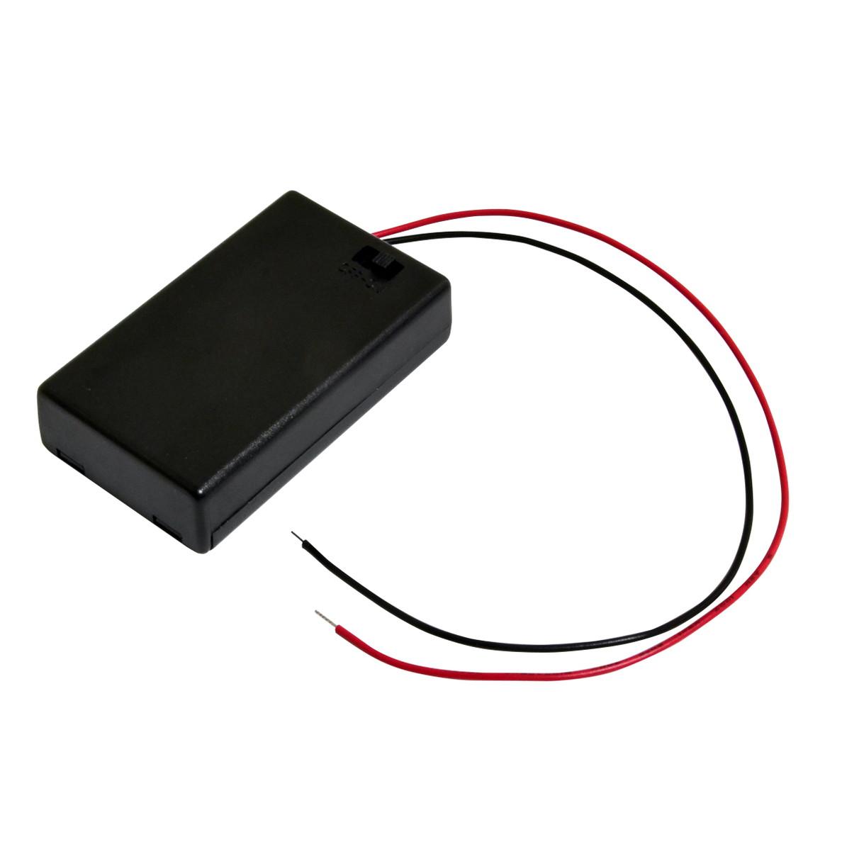 6474(1個) 電池ボックス 単4乾電池×3本 (SBH-431-1AS) フタ・スイッチ付 ケーブル20cm