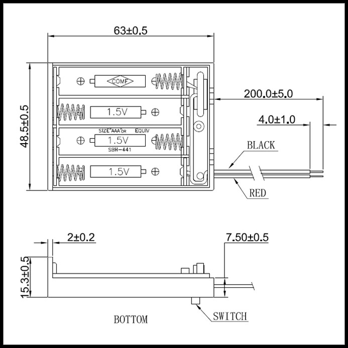 6475(1個) 電池ボックス 単4乾電池×4本 (SBH-441AS) フタ・スイッチ付 ケーブル20cm