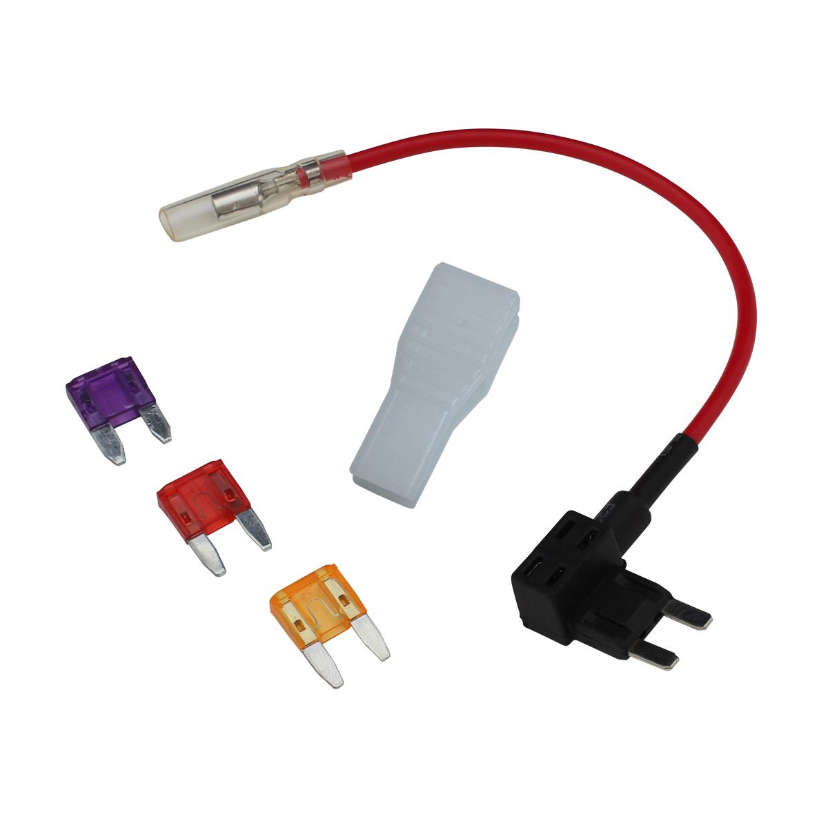 6093(1セット) ミニ平型ヒューズ用 電源取出しケーブル (ギボシ端子付き) + ヒューズプーラー + 3A/5A/10A ヒューズ3種セット