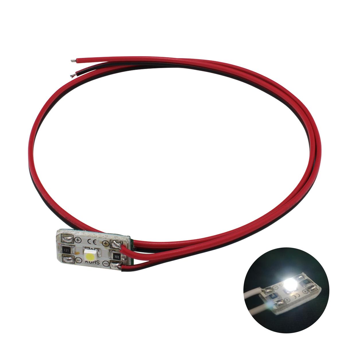 8561[1連×2個] 非防水 小型 高輝度 1LEDモジュール 白 12V 2835 単体 (1cm×2cm) ケーブル50cm