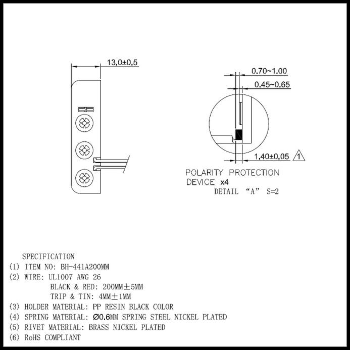 6477(1個) 電池ボックス 単4乾電池×4本 (BH441A) ケーブル20cm