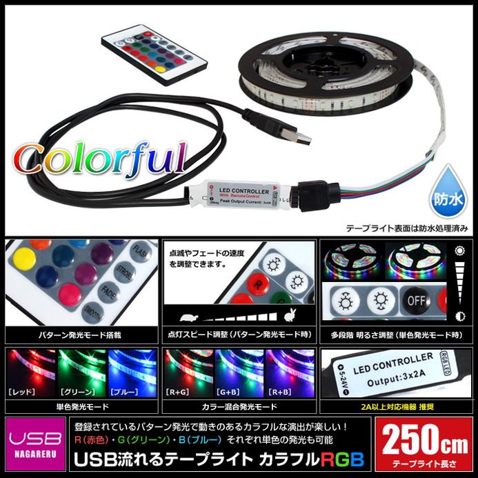 Kaito7964(1本) USB 流れる LED防水テープライト250cm RGB/カラフル[3528 SMD] 24キーリモコン型 白ベース DC5V