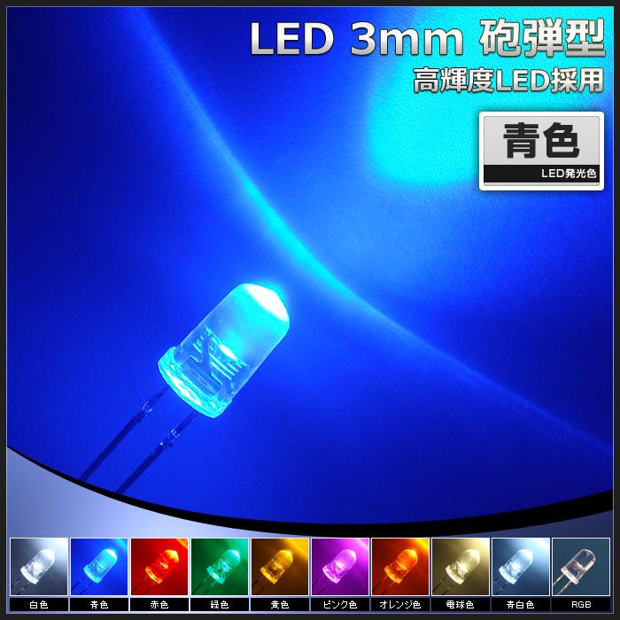【500個】LED 砲弾型 3mm 青色 SLP-0H118A-51-B