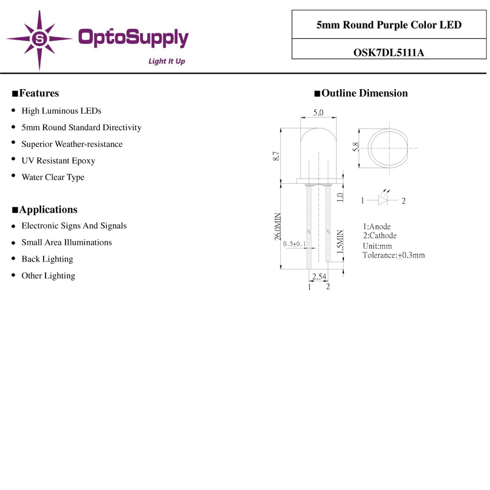 Kaito1830(100個) LED 砲弾型 5mm Purple OptoSupply 7000-8400mcd 30mA 15deg [OSK7DL5111A]