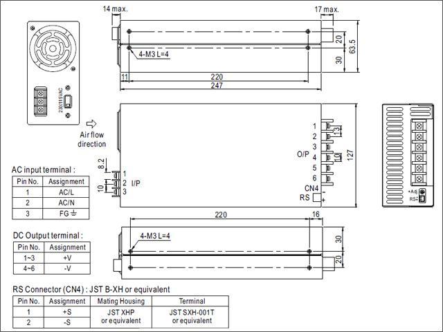 12V/50A/600W ミンウェル ACアダプター 【Meanwell:SE-600-12】メタル製