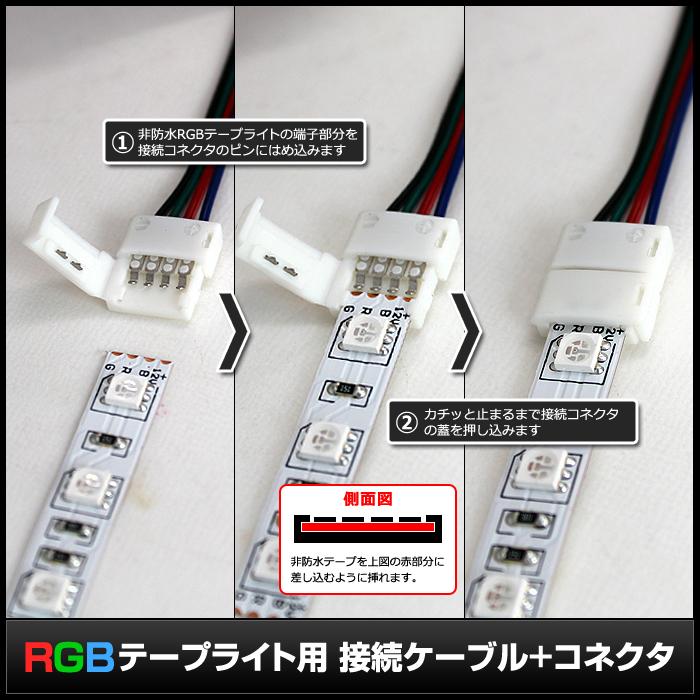 Kaito5577(1個) 10mm 非防水 RGBテープライト用 接続ケーブル+コネクタ 両端子 1M