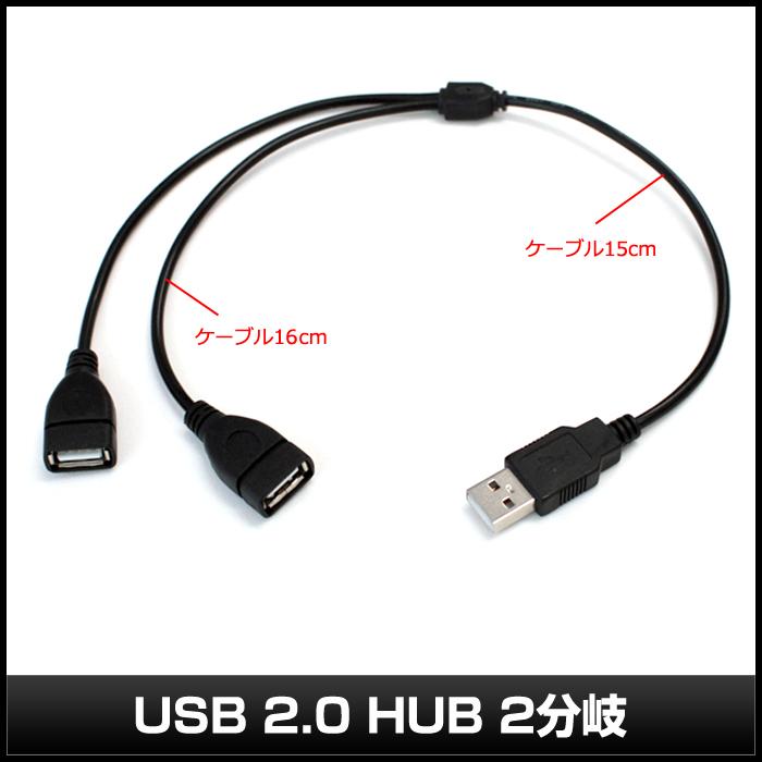 [5V LEDテープライト専用] USB 2.0 HUB 2分岐ケーブル [1本]