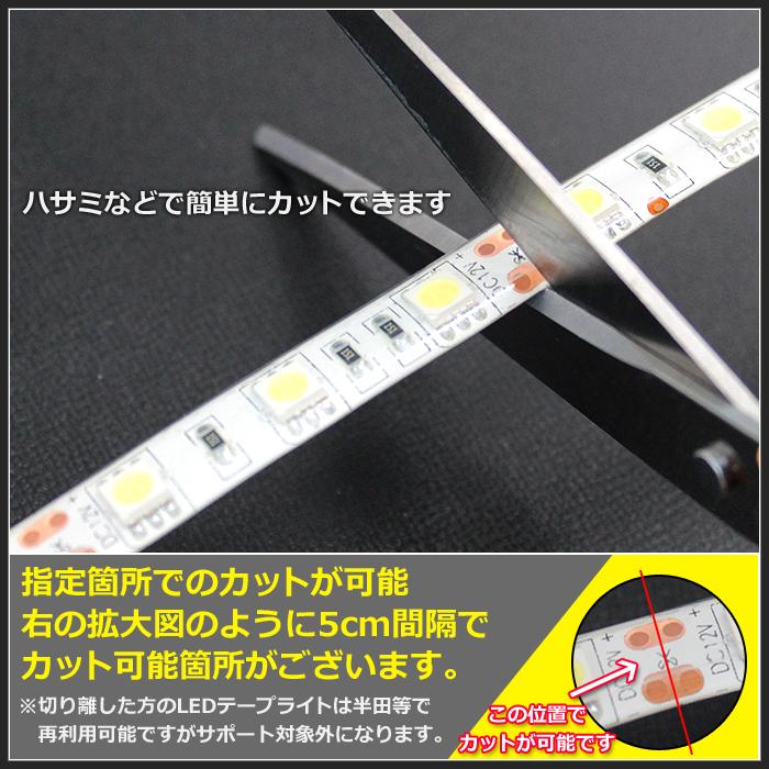 【ハイクオリティ】防水 LEDインテリアテープライト(RoHS対応) 3チップ 単体 (100V/12V兼用) 5cm