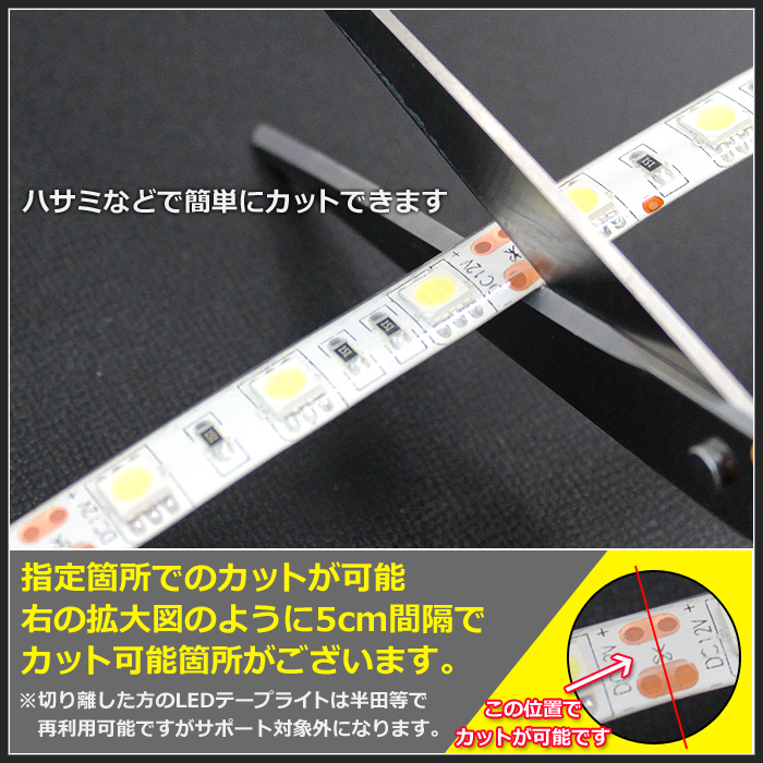 【ハイクオリティ】防水 LEDインテリアテープライト(RoHS対応) 3チップ 単体 (100V/12V兼用) 300cm