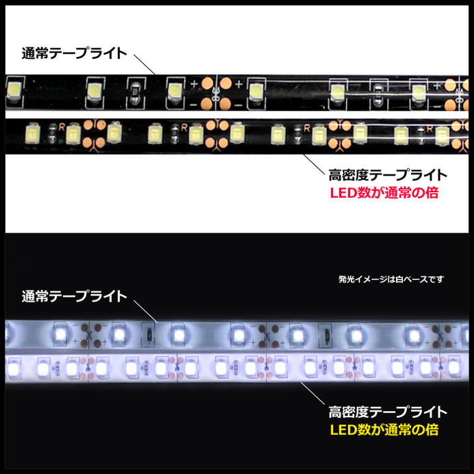 [30cm×2本] 高密度(120LED/1M) 24V LEDテープライト 防水 黒ベース