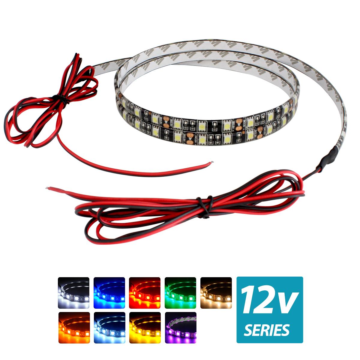超安12V(ケーブル1.5m×1本) 防水LEDテープライト 3チップ 180cm 両端子 [黒ベース]