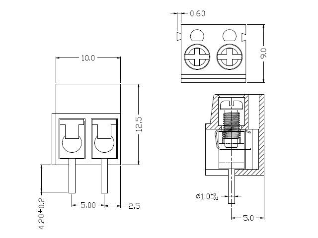 Kaito7516(10個) 2.54mmピッチスルーホール2端子ブロック