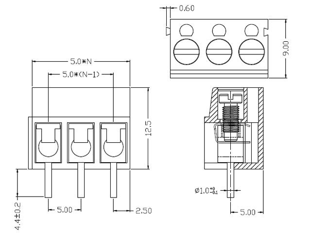 Kaito7517(10個) 2.54mmピッチスルーホール3端子ブロック