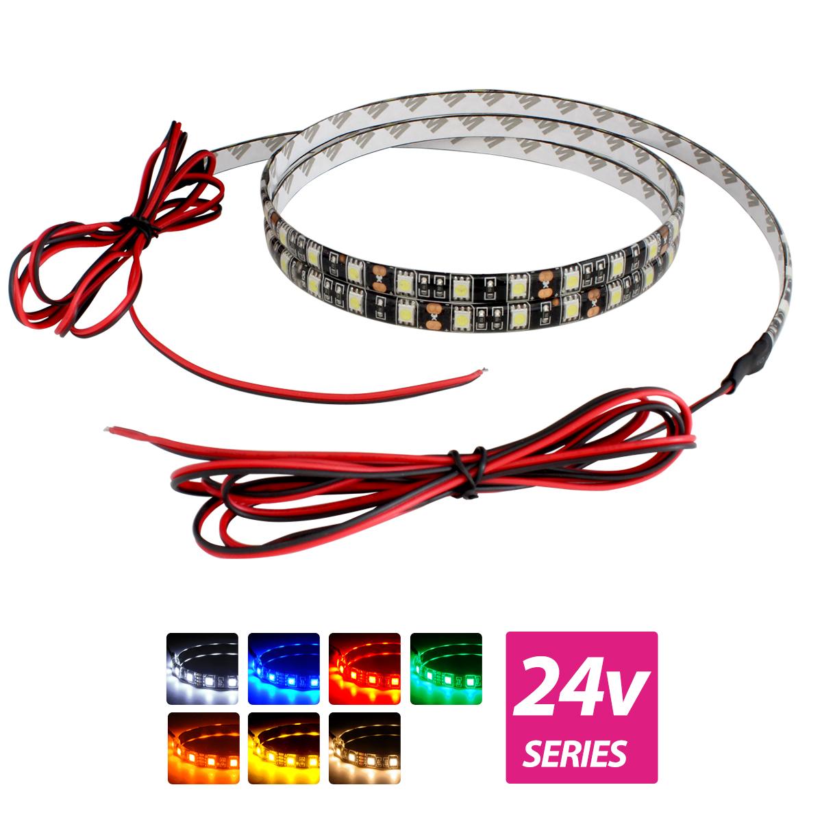 超安24V(ケーブル1.5m×1本) 防水LEDテープライト 3チップ 120cm 両端子 [黒ベース]