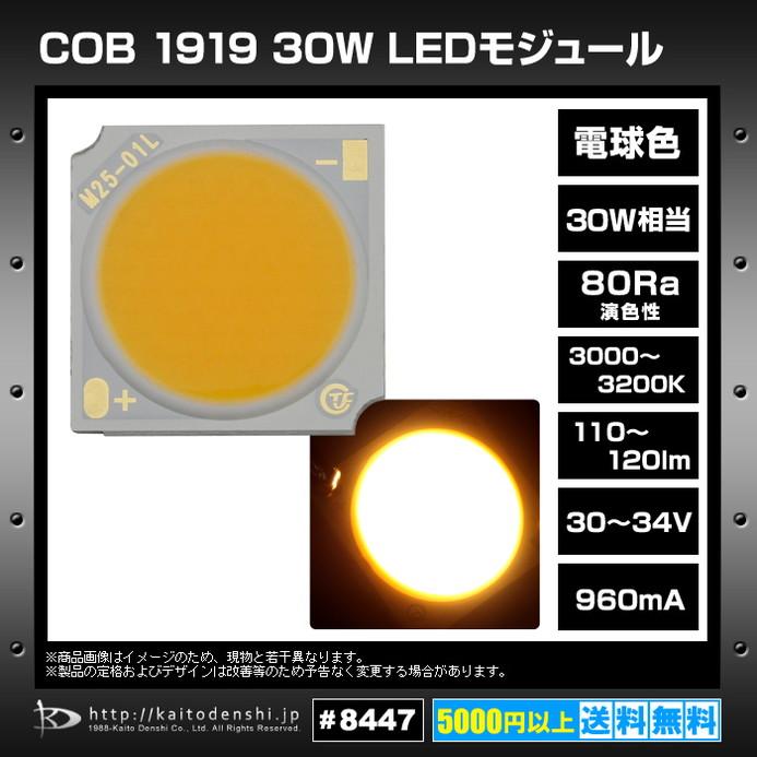8447(1個) COB 1919 30W LEDモジュール 電球色 30-34V 960mA 3000-3200K 110-120lm 80Ra