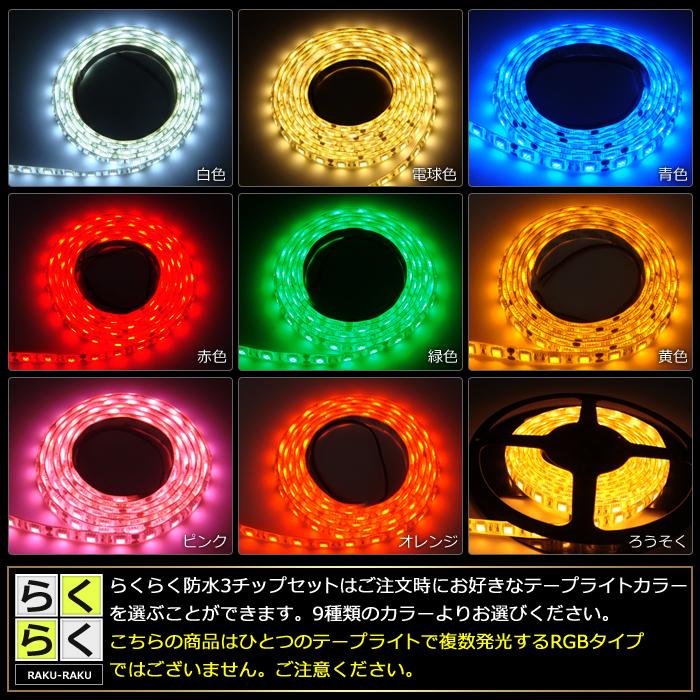 【らくらく200cm×2本セット】 防水3チップ LEDテープライト(RoHS対応) +調光器+対応アダプター付き