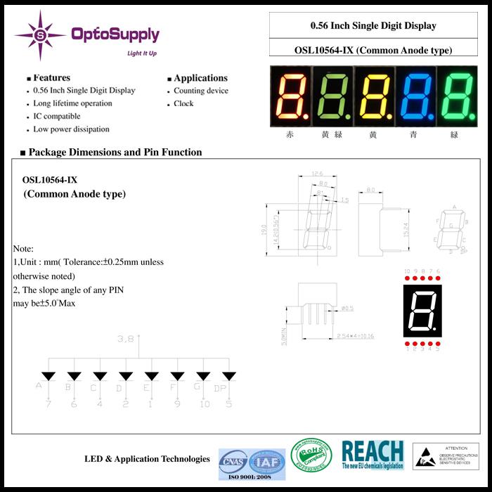 3292(1個) 青色 7セグメント LED表示器 アノードコモン 470nm (OSL10564-IB) OptoSupply