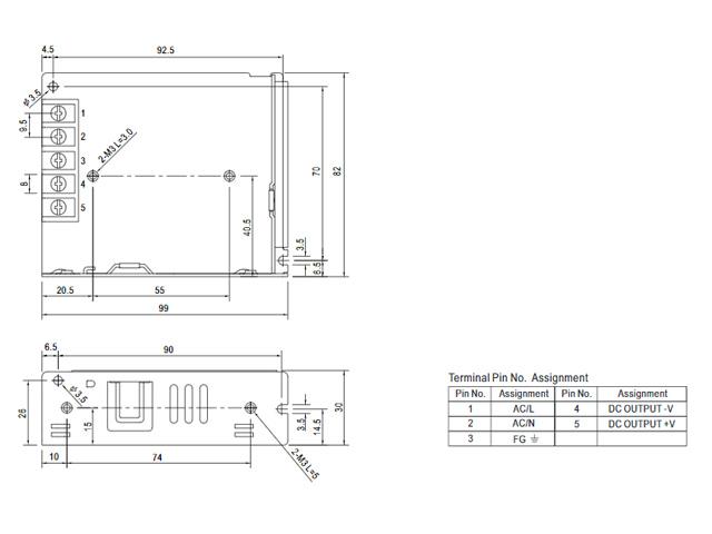 12V/4.2A/50.4W ミンウェル ACアダプター【Meanwell:LRS-50-12】メタル製