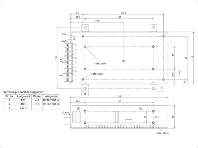12V/17A/204W ミンウェル ACアダプター【Meanwell:LRS-200-12】メタル製