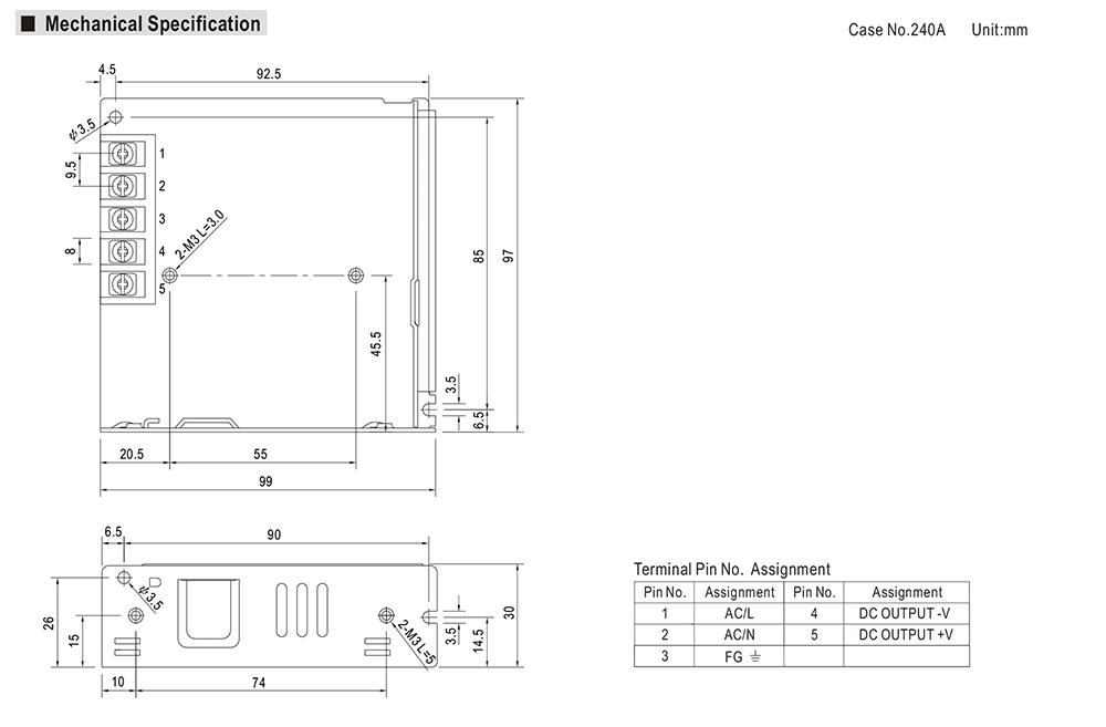 12V/6.2A/74.4W ミンウェル ACアダプター【Meanwell:LRS-75-12】メタル製