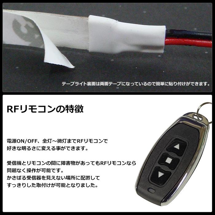 【らくらく200cm×1本セット】 防水1チップ LEDテープライト(RoHS対応) +調光器+対応アダプター付き