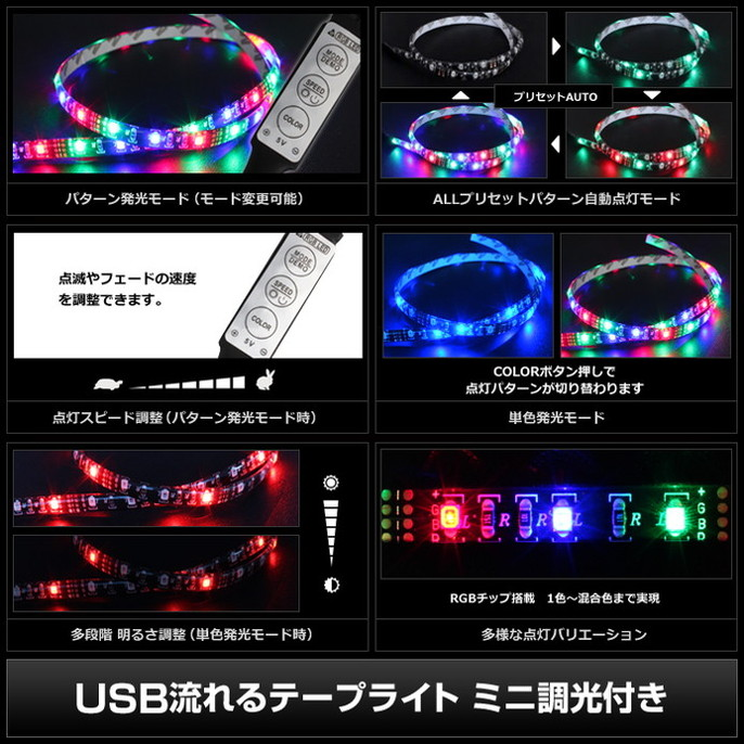 Kaito6970(10本) 防水 USB 流れるLEDテープライト RGB/カラフル(3528) [ミニ調光付き] 30cm DC5V 黒ベース