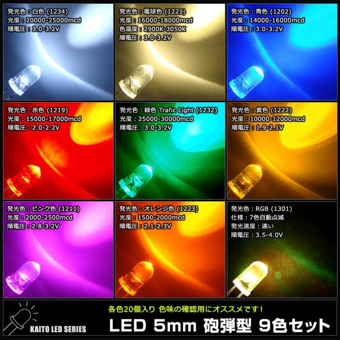 LED 5mm 砲弾型 9色セット (白・電球・青・赤・緑・黄・ピンク・オレンジ・RGB) 20個入り×9色 計180個 【1209】