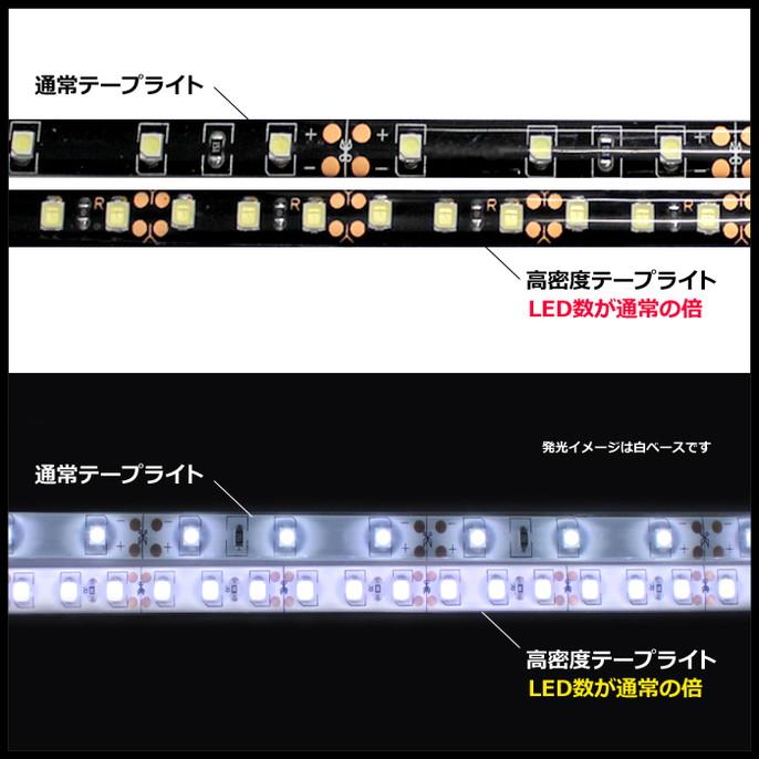 [20cm×2本] 高密度(120LED/1M) 12V LEDテープライト 防水 黒ベース