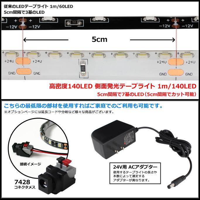 側面発光24V(1本) 高密度 防水LEDテープライト 315SMD 500cm [140LED|白ベース|ケーブル長1.5m|両端子]