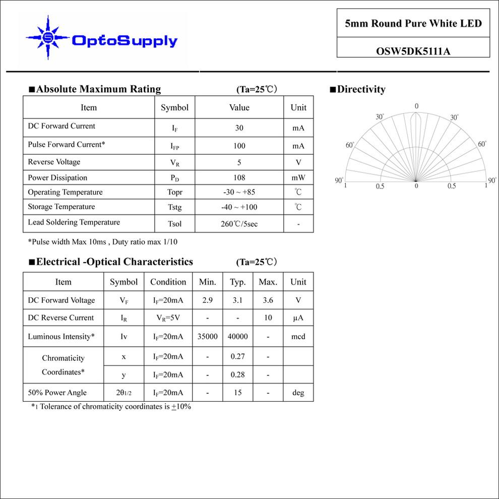 1224(100個) LED 砲弾型 5mm 白色 OptoSupply 35000〜40000mcd OSW5DK5111A