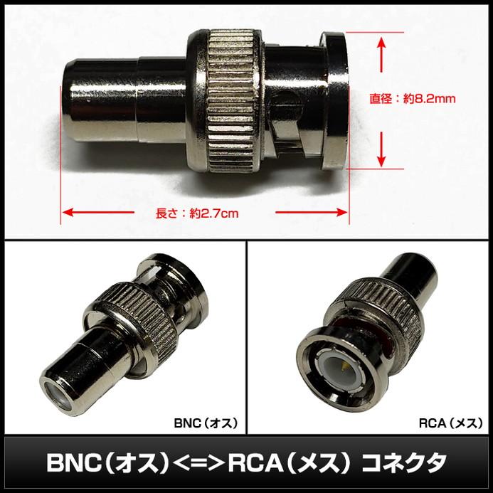 0413(10個) BNC(オス) ⇔ RCA(メス) コネクタ