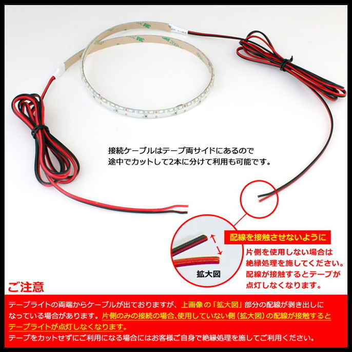側面発光12V(10本) 防水 8mm LEDテープライト 1チップ 30cm (120LED/m) 両端子 [白ベース]