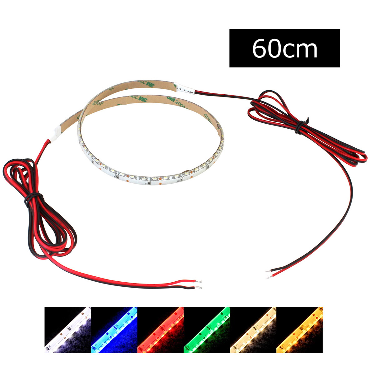 側面発光12V(10本) 防水 8mm LEDテープライト 1チップ 60cm (120LED/m) 両端子 [白ベース]