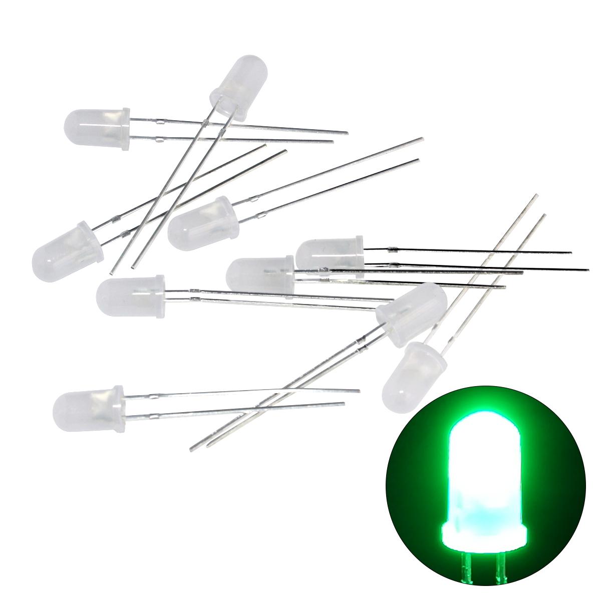 Kaito1205(50個) LED 砲弾型 5mm 緑色 (乳白色) 2000〜3000mcd 517-520nm 3.0-3.2V