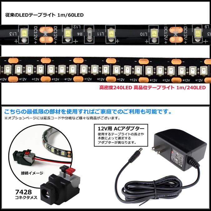 240LEDテープライト 20cm HQ 高密度 12V 防水 片端子ケーブル1m 黒ベース