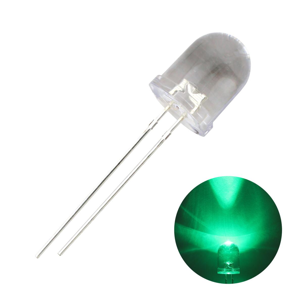 1808(10個) LED 砲弾型 10mm (クリアレンズ) 緑色 25000〜30000mcd 520〜525nm