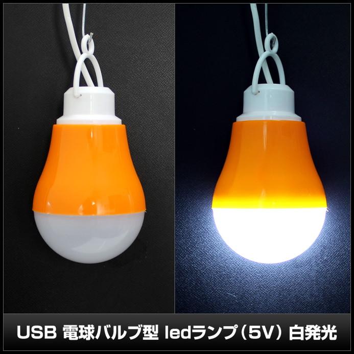 USB5V(10個) 電球バルブ型 ledランプ on/offスイッチ付き [白発光 5W]