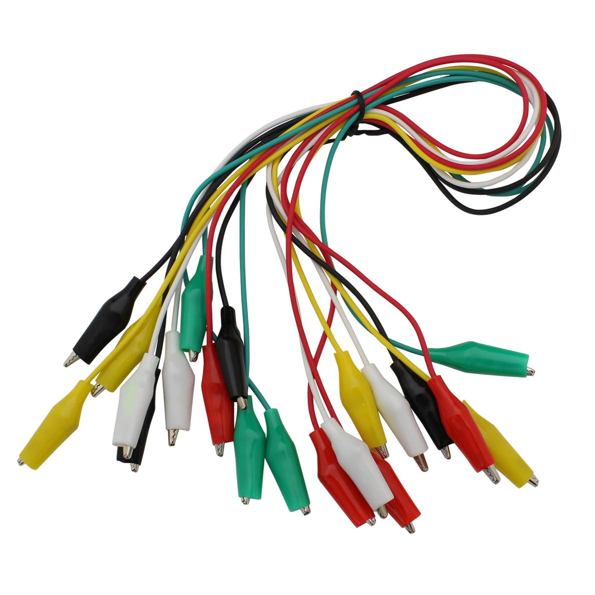 6115(1セット) 両端 みのむしクリップ ケーブル (小) 5色セット (黒・白・赤・黄・緑/各2本) 40cm