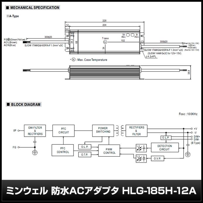 4669(1個) 防水ACアダプター 12V/13A/156W ミンウェル【HLG-185H-12A】IP65