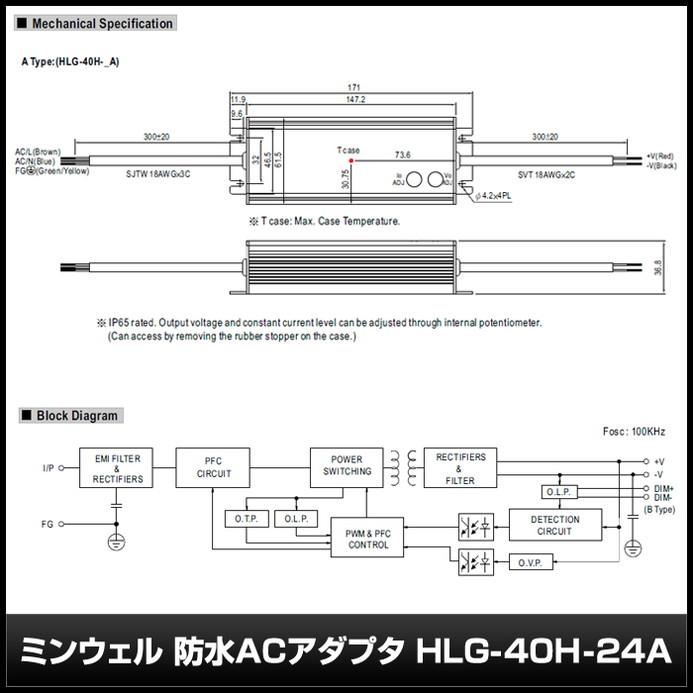 [1個] 24V/1.67A/40.08W ミンウェル 防水ACアダプター【HLG-40H-24A】IP65