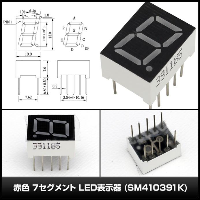 3290(10個) 赤色 7セグメント LED表示器 (SM410391K)