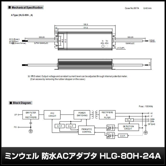 [1個] 24V/3.4A/81.6W ミンウェル 防水ACアダプター【HLG-80H-24A】IP65