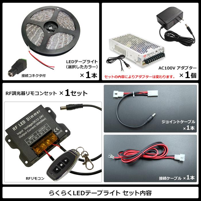 【らくらく350cm×1本セット】 非防水3チップ LEDテープライト(RoHS対応) +調光器+対応アダプター付き