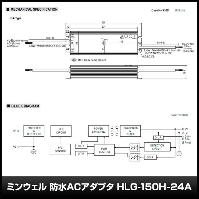 4685(1個) 防水ACアダプター 24V/6.3A/151.2W ミンウェル【HLG-150H-24A】IP65