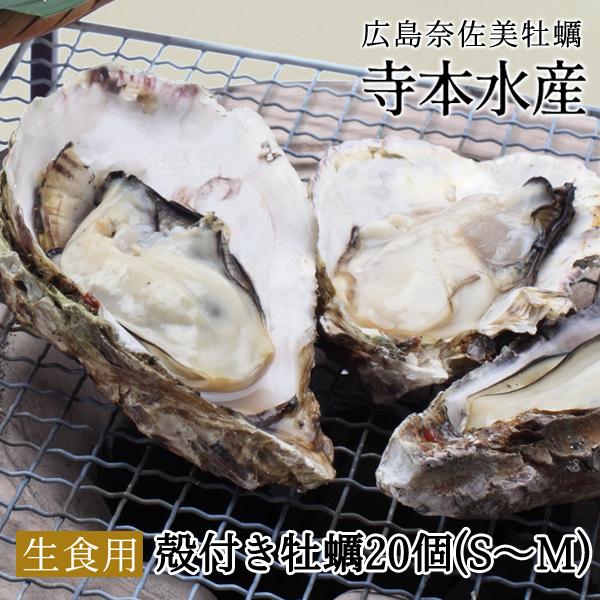広島牡蠣老舗の味! 殻付き牡蠣20個(S〜M混合)[生食用]発泡箱