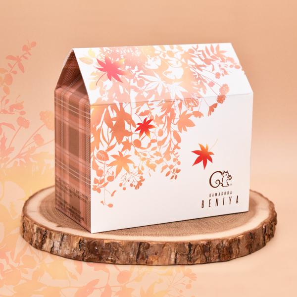【完売につき販売終了】詰合せ01 ハウス型BOX(秋)(クルミッ子2個 あじさい1枚 鎌倉だより3枚)