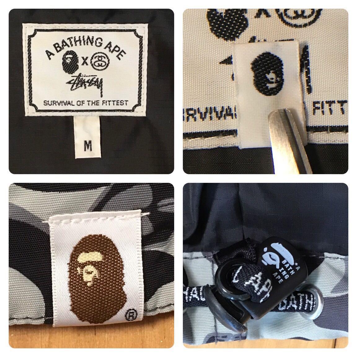 ★激レア★ stussy × BAPE camo スノボジャケット Mサイズ a bathing ape snowboard jacket エイプ ベイプ アベイシングエイプ 迷彩 vv52