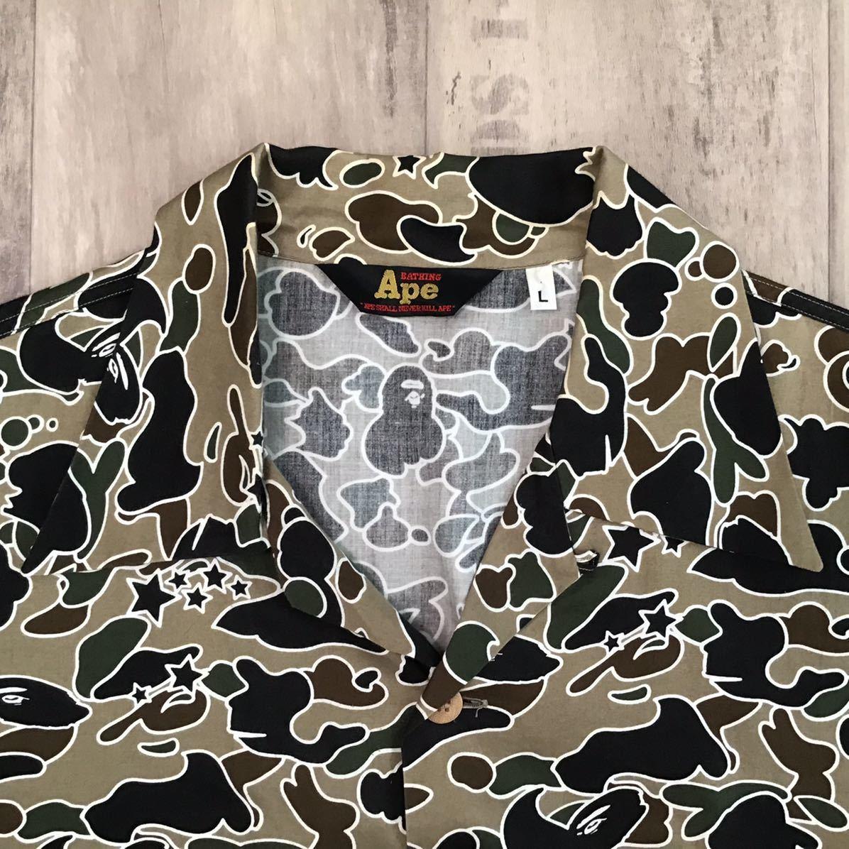 アロハシャツ sta camo green Lサイズ a bathing ape bape 半袖シャツ エイプ ベイプ アベイシングエイプ 迷彩 psyche サイケ 535d