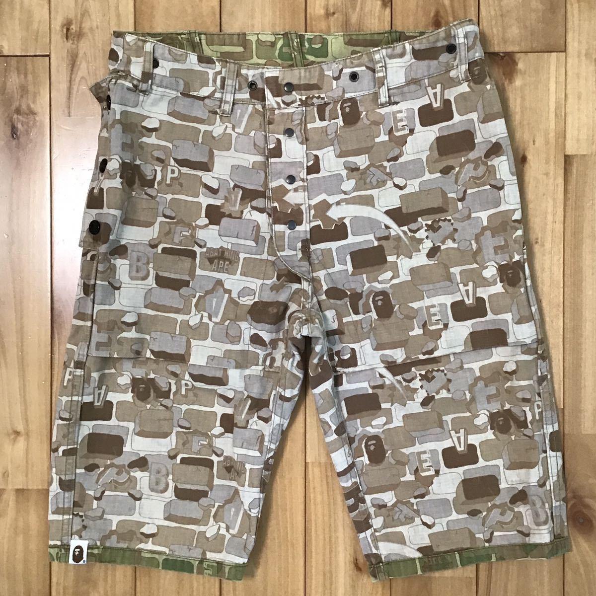 ★リバーシブル★ BAPE camo ハーフパンツ Sサイズ a bathing ape reversible shorts エイプ ベイプ アベイシングエイプ 迷彩 ショーツ 58d